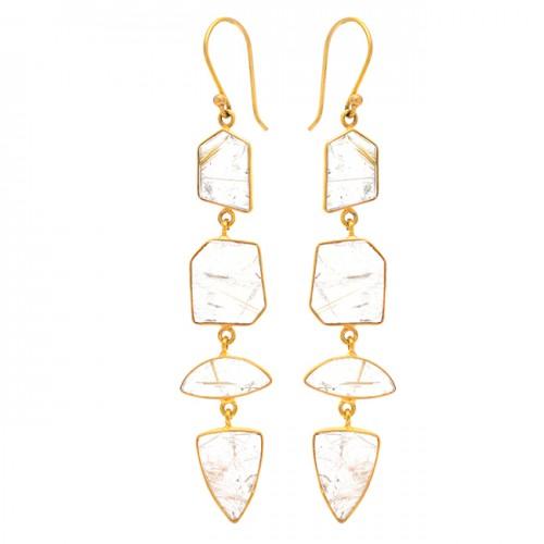 Golden Rutile Quartz Gemstone 925 Sterling Silver Gold Plated Dangle Earrings