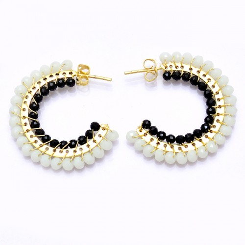 Aqua Chalcedony Black Onyx Gemstone 925 Sterling Silver Hoop Earrings