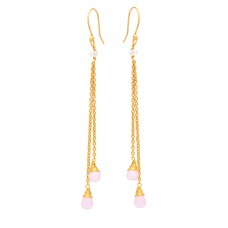 Pear Drops Shape Rose Chalcedony Gemstone 925 Silver Gold Plated Earrings