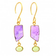 Amethyst Peridot Gemstone 925 Sterling Silver Gold Plated Dangle Earrings