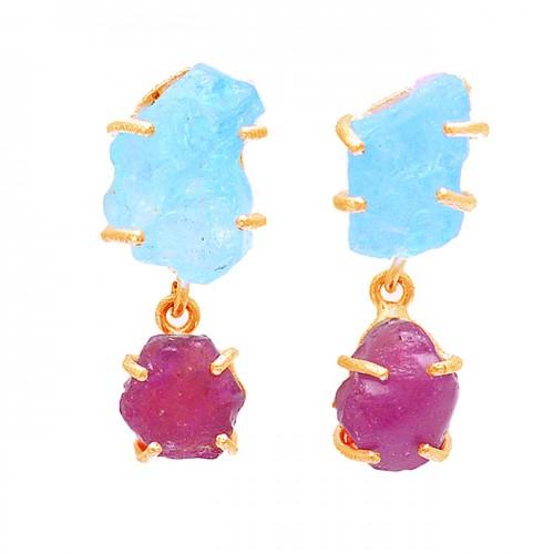 Aquamarine Ruby Rough Gemstone 925 Sterling Silver Prong Setting Earrings
