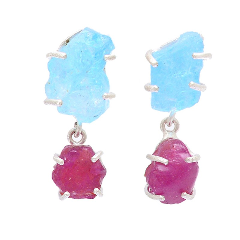 Aquamarine Ruby Rough Gemstone 925 Sterling Silver Prong Setting Earrings