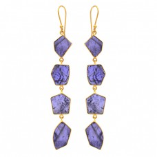 Fancy Shape Iolite Gemstone 925 Sterling Silver Gold Plated Dangle Earrings