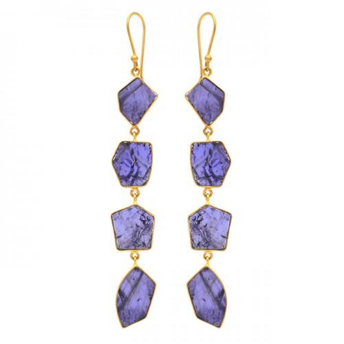 Fancy Shape Iolite Gemstone 925 Sterling Silver Gold Plated Dangle Earrings