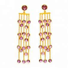 Dangle Hanging Chain Handmade Amethyst Gemstone 925 Sterling Silver Gold Plated Stud Earrings