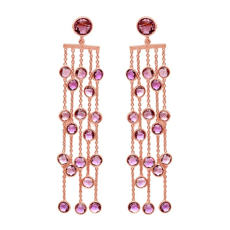 Dangle Hanging Chain Handmade Amethyst Gemstone 925 Sterling Silver Gold Plated Stud Earrings