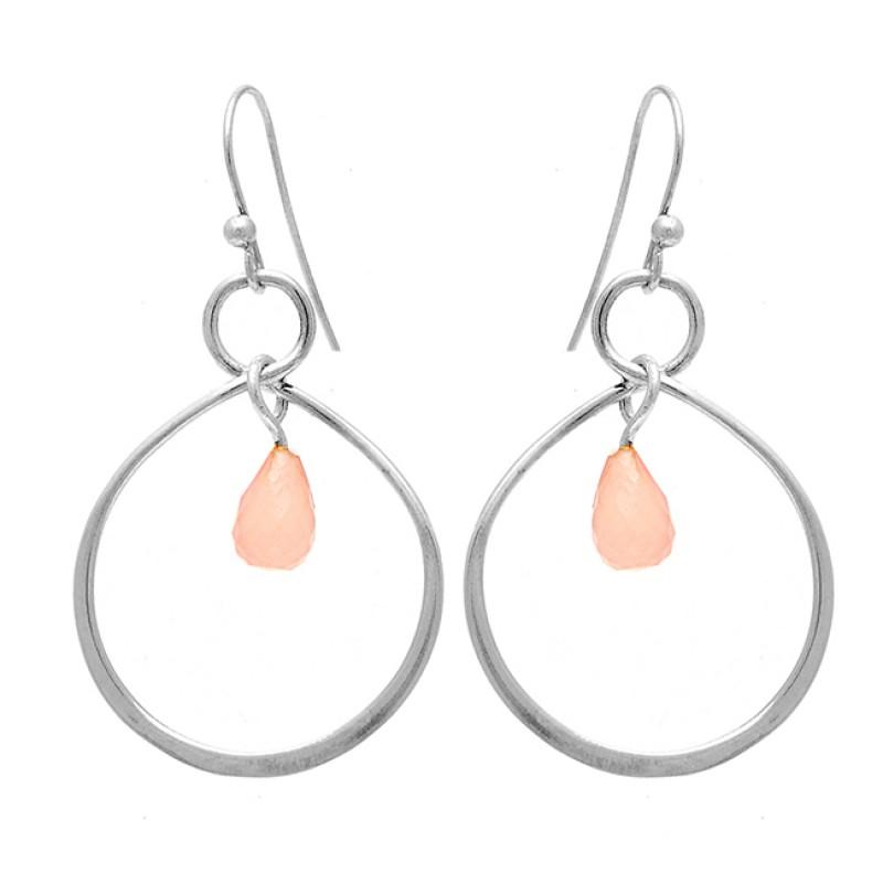 925 Sterling Silver Pear Shape Rose Chalcedony Gemstone Dangle Earrings
