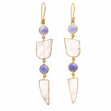 Iolite Rose Quartz Gemstone 925 Sterling Silver Gold Plated Dangle Earrings