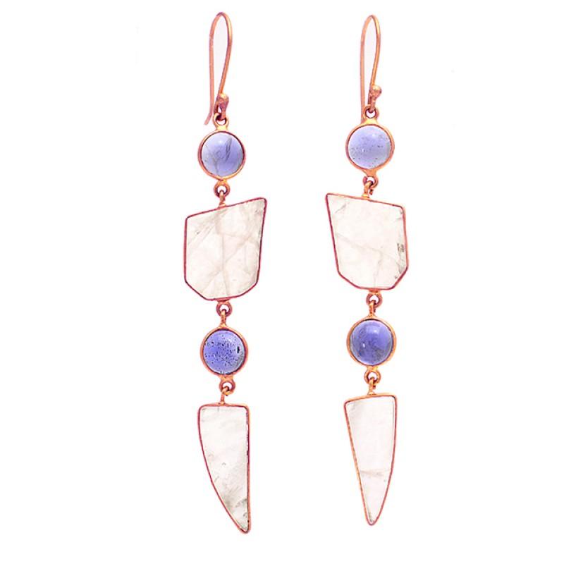 Iolite Rose Quartz Gemstone 925 Sterling Silver Gold Plated Dangle Earrings