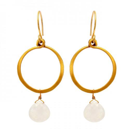Rainbow Moonstone Heart Shape Gemstone 925 Silver Gold Plated Earrings