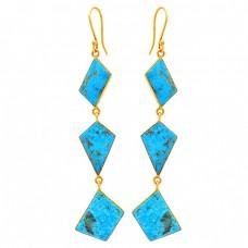 Fancy Shape Turquoise Gemstone 925 Sterling Silver Bezel Setting Earrings