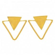 Triangle Shape Plain Handmade Designer 925 Sterling Silver Gold Plated Earrings