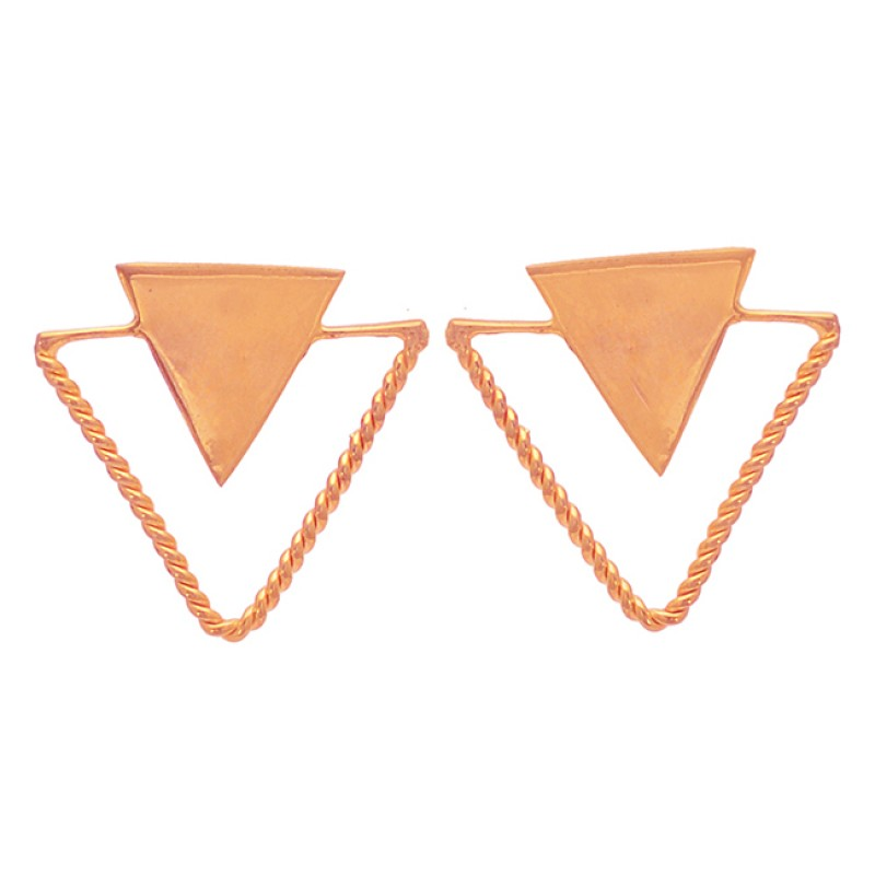 Triangle Shape Plain Handmade Designer 925 Sterling Silver Gold Plated Earrings