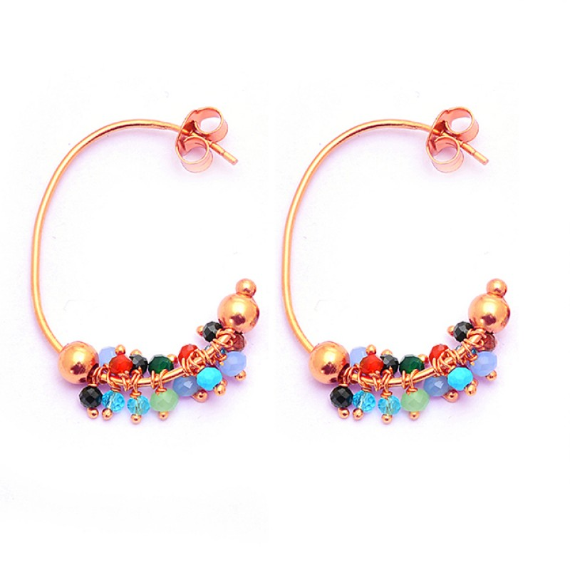 Roundel Beads Shape Multi Color Gemstone 925 Silver Gold Plated Hoop Earrings