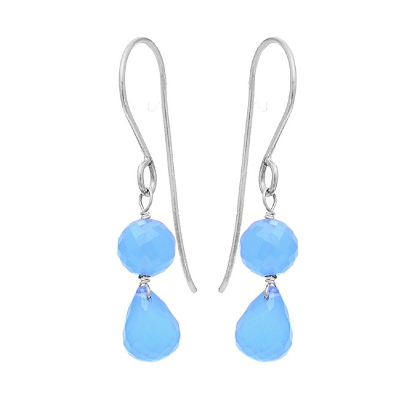 Blue Chalcedony Round Pear Drops Shape Gemstone Gold Plated Earrings