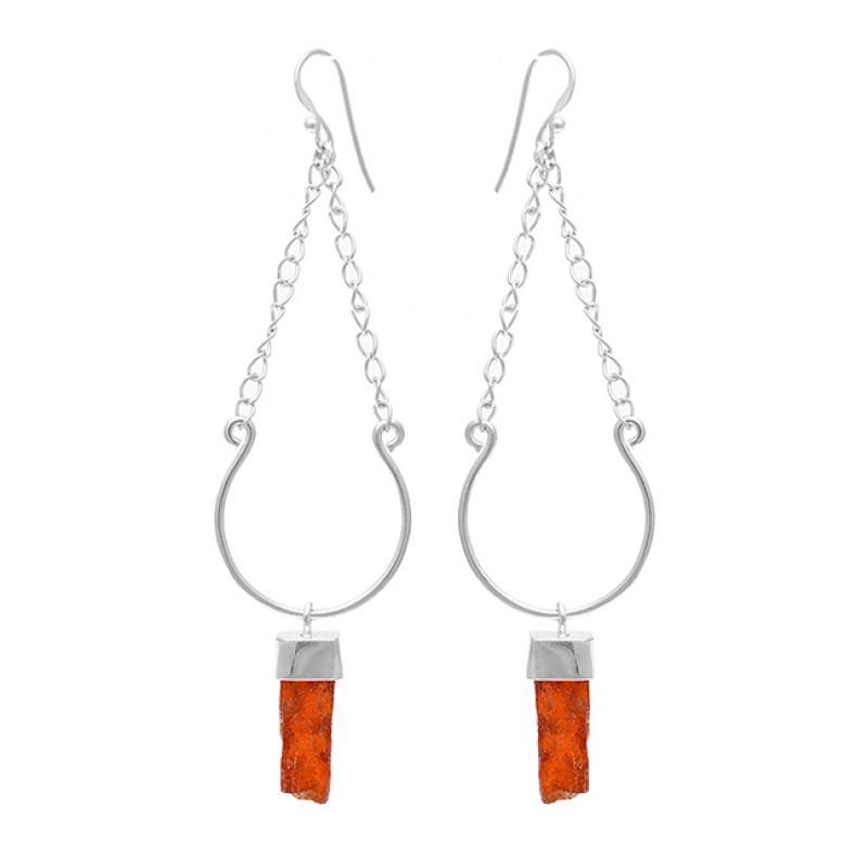 Hessonite Garnet Rough Gemstone 925 Sterling Silver Chain Dangle Earrings