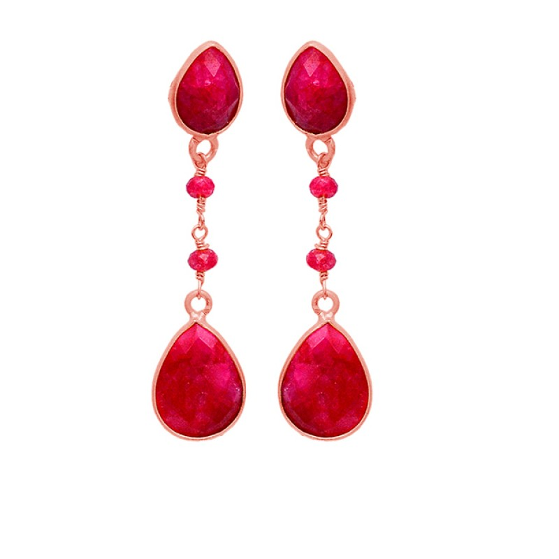 Designer Handmade Red Ruby Gemstone Dangle Earrings 925 Sterling Silver Gold Plated Jewelry