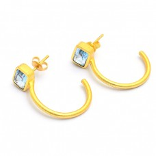 Blue Topaz Rectangle Shape Gemstone 925 Silver Gold Plated Hoop Earrings