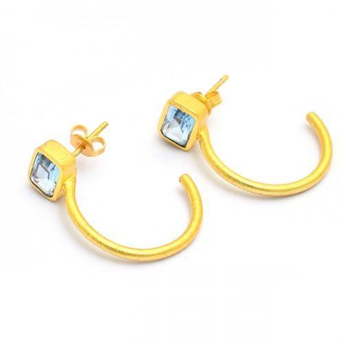 Blue Topaz Rectangle Shape Gemstone 925 Silver Gold Plated Hoop Earrings
