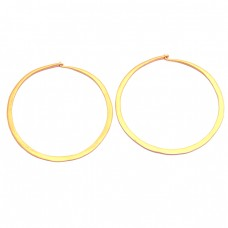 Fashionable Plain Handmade 925 Sterling Silver Gold Plated Hoop Earrings