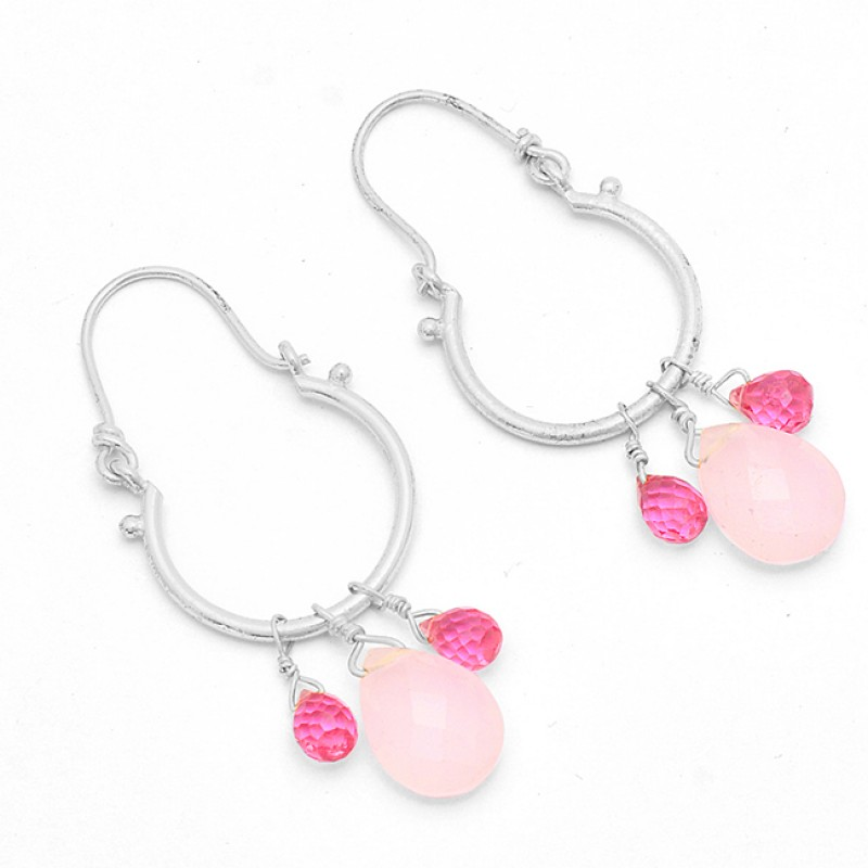 Rose Chalcedony Pink Quartz Gemstone 925 Silver Gold Plated Hoop Earrings