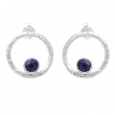 Round Shape Blue Sapphire Gemstone 925 Sterling Silver Stud Earrings