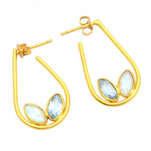 Rainbow Moonstone Blue Topaz Gemstone 925 Silver Gold Plated Earrings