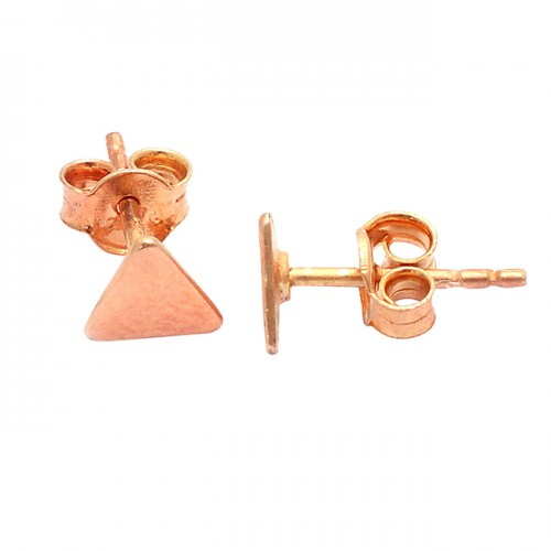 925 Sterling Silver Plain Triangle Shape Designer Gold Plated Stud Earrings