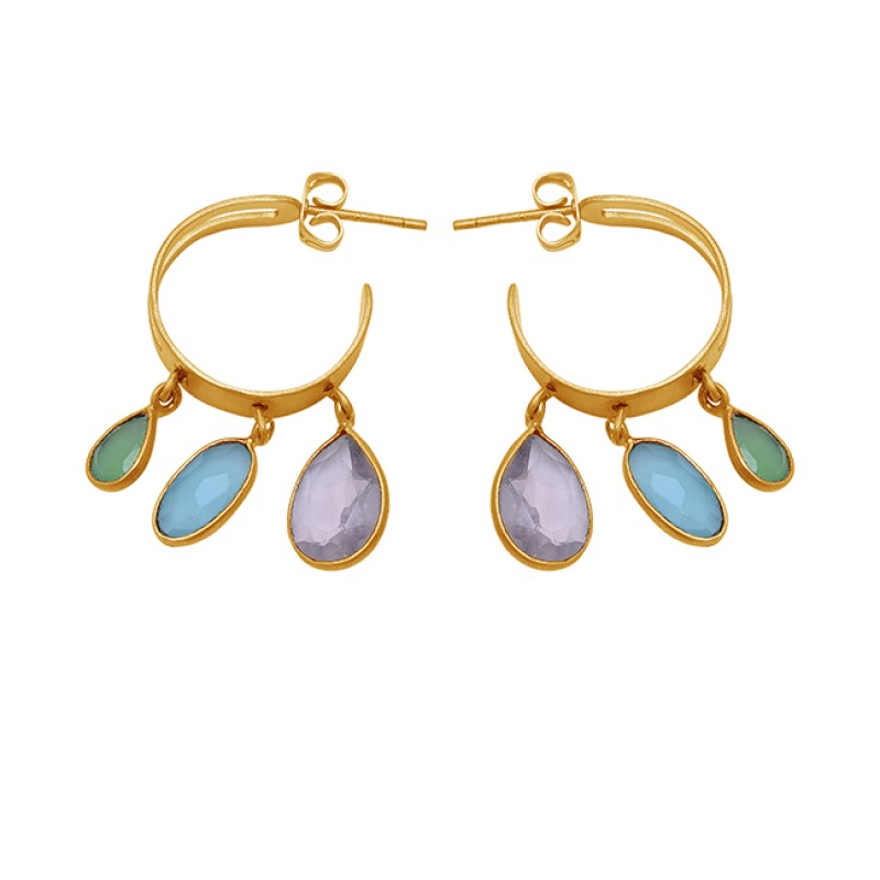 Oval Pear Shape Chalcedony Gemstone 925 Sterling Silver Gold Plated Earrings