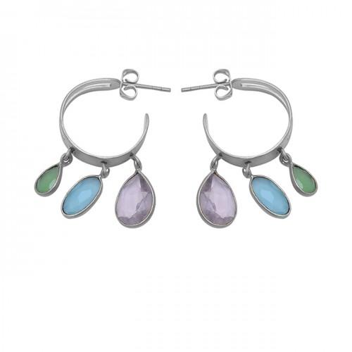 Oval Pear Shape Chalcedony Gemstone 925 Sterling Silver Gold Plated Earrings