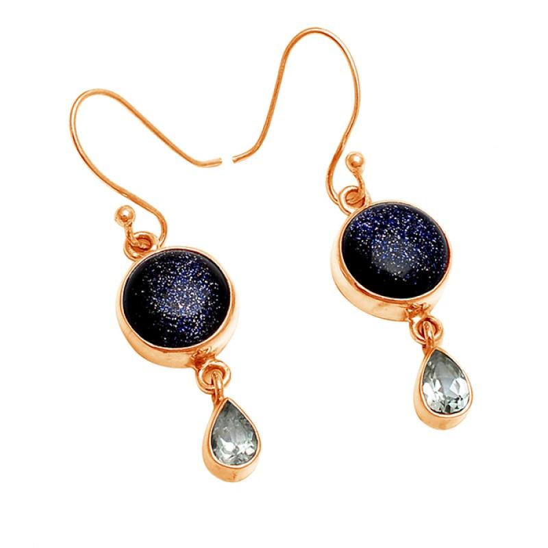 Blue Sand Green Amethyst Gemstone 925 Sterling Silver Handcrafted Earrings