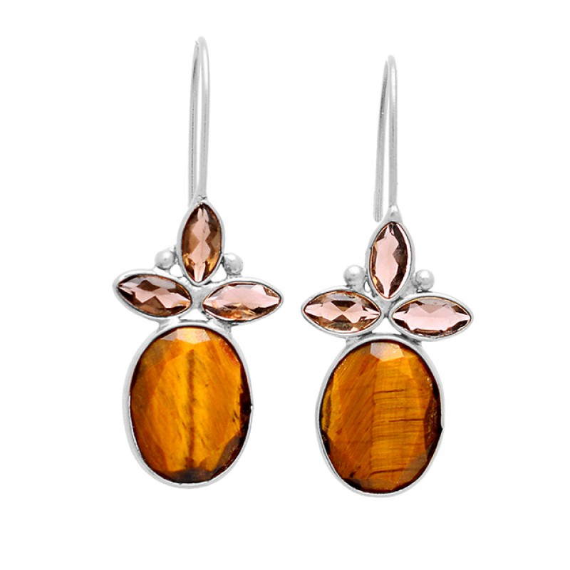 Tiger Eye Smoky Quartz Gemstone 925 Sterling Silver Gold Plated Fixed Ear Wire Earrings