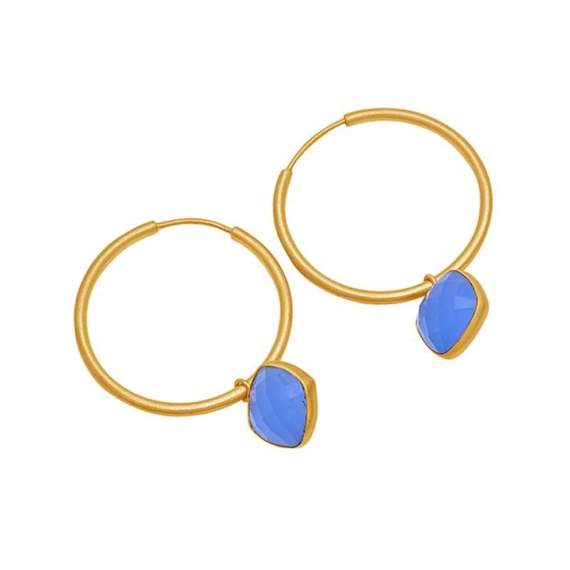 Blue Chalcedony Gemstone 925 Sterling Silver Gold Plated Hoop Earrings