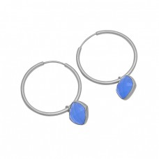 Blue Chalcedony Gemstone 925 Sterling Silver Gold Plated Hoop Earrings