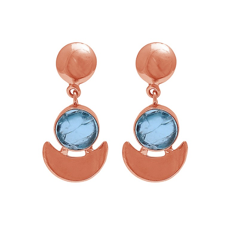 Round Shape Apatite Gemstone 925 Sterling Silver Gold Plated Stud Earrings