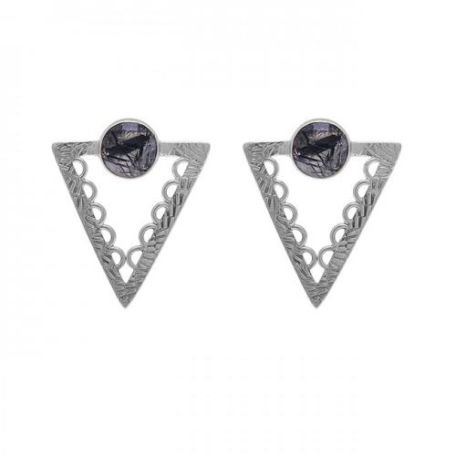 Black Rutile Quartz Gemstone 925 Sterling Silver Gold Plated Stud Earrings