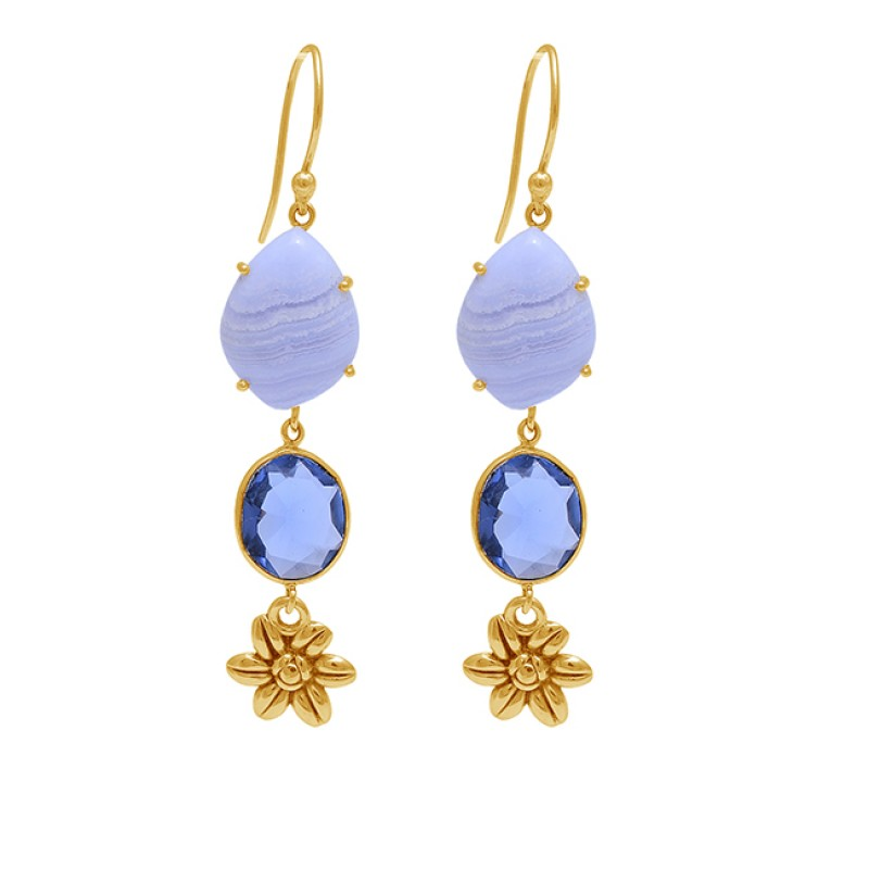 Blue Lace Agate Blue Quartz Gemstone 925 Sterling Silver Gold Plated Earrings