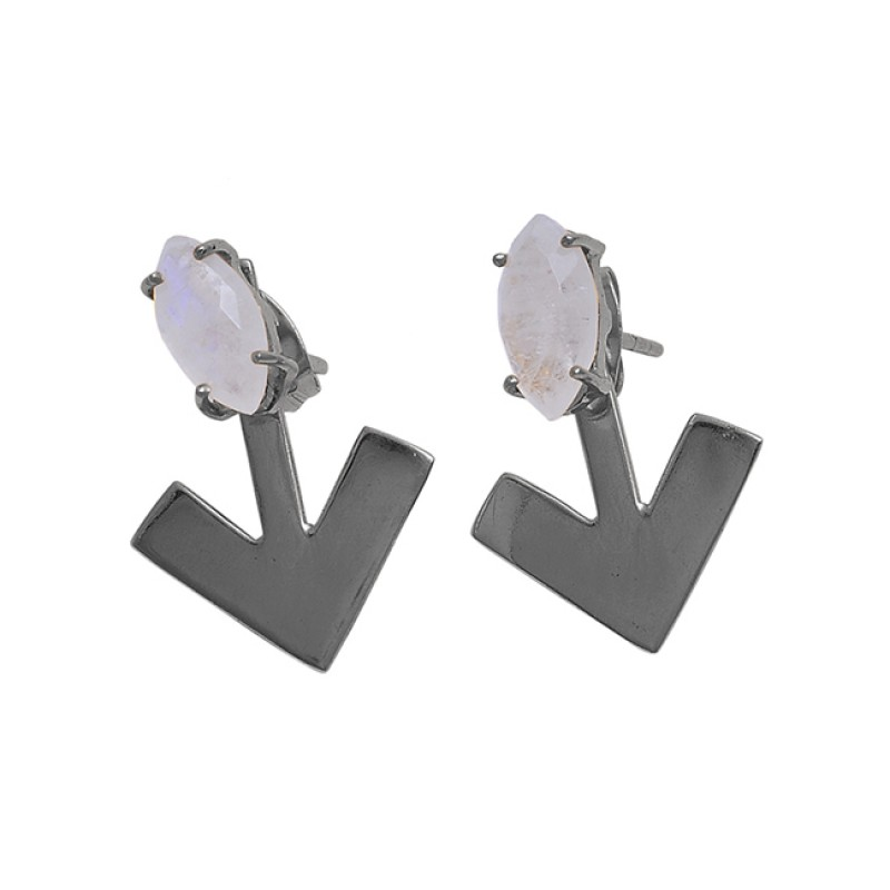 Marquise Shape Rainbow Moonstone 925 Silver Gold Plated Stud Earrings