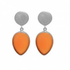 Pear Shape Carnelian Gemstone 925 Sterling Silver Gold Plated Stud Earrings