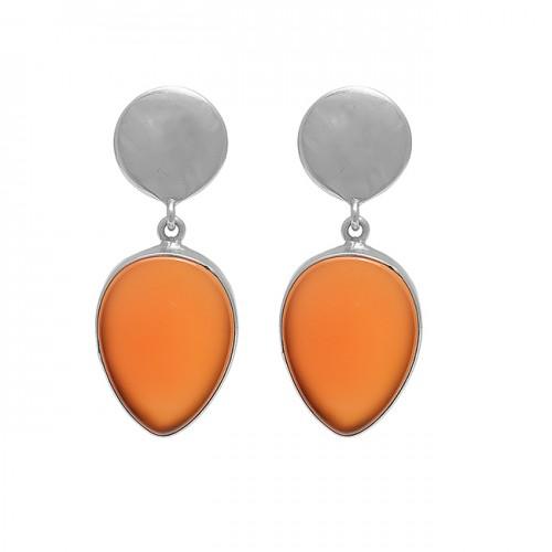 Pear Shape Carnelian Gemstone 925 Sterling Silver Gold Plated Stud Earrings