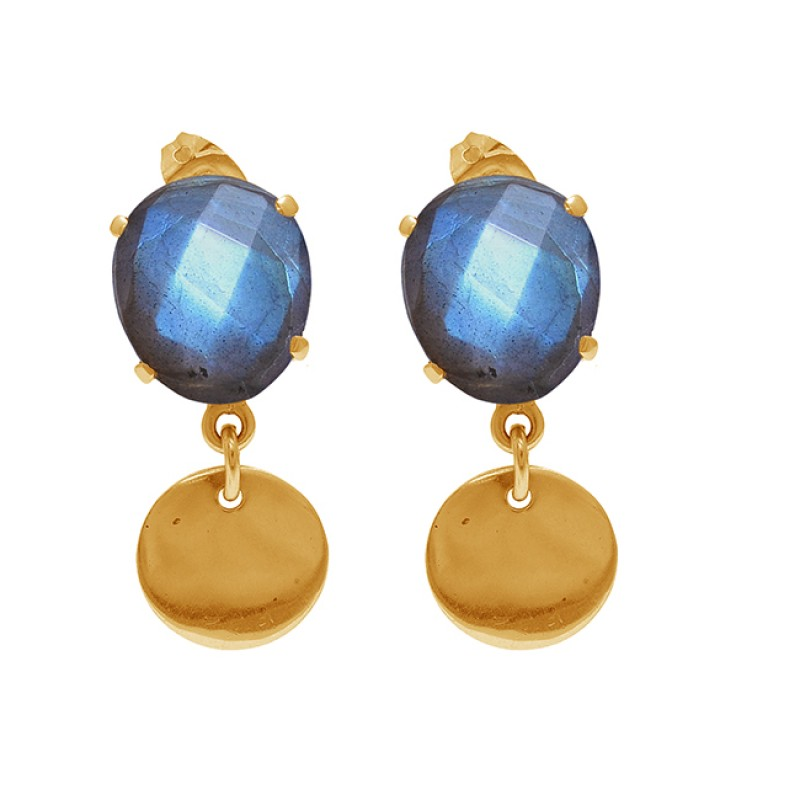 Oval Shape Labradorite Gemstone 925 Sterling Silver Gold Plated Stud Earrings