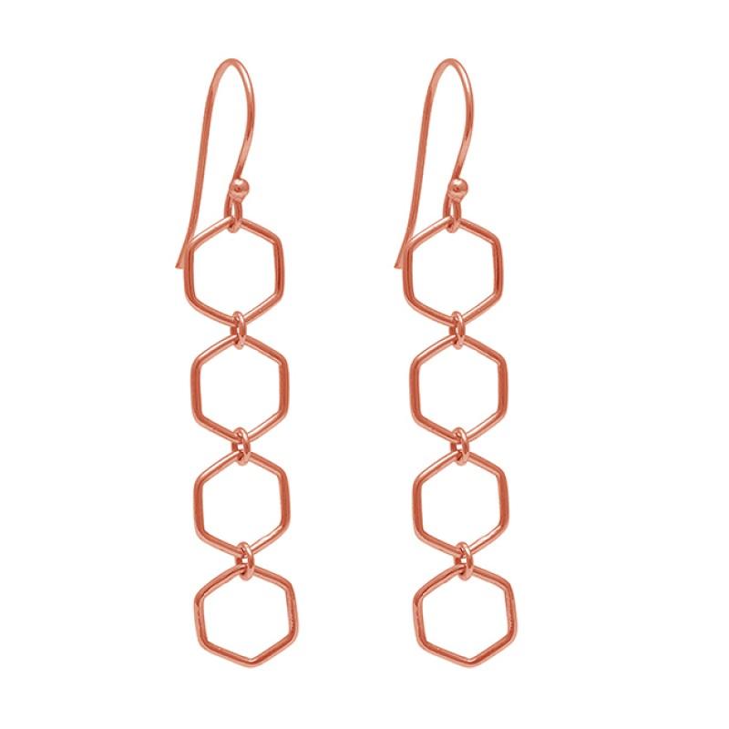 925 Sterling Silver Plain Handmade Designer Gold Plated Dangle Earrings