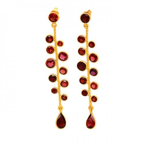 Red Garnet Round Pear Shape Gemstone 925 Sterling Silver Gold Plated Stud Earrings