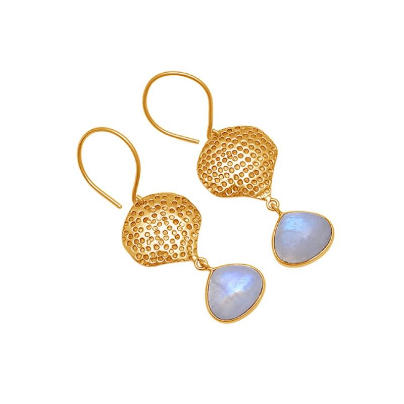 925 Sterling Silver Rainbow Moonstone Gold Plated Danlge Earrings
