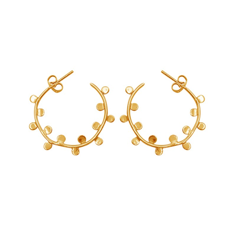 Handcrafted Designer Plain 925 Sterling Silver Gold Plated Earrings