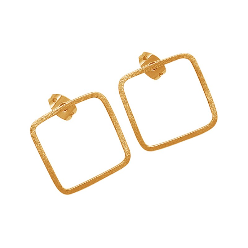 925 Sterling Silver Plain Light Weight Gold Plated Stud Earrings