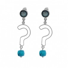 Apatite Turquoise Gemstone 925 Sterling Silver Danlge Stud Earrings