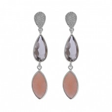 Peach Moonstone Smoky Quartz Gemstone 925 Silver Dangle Earrings