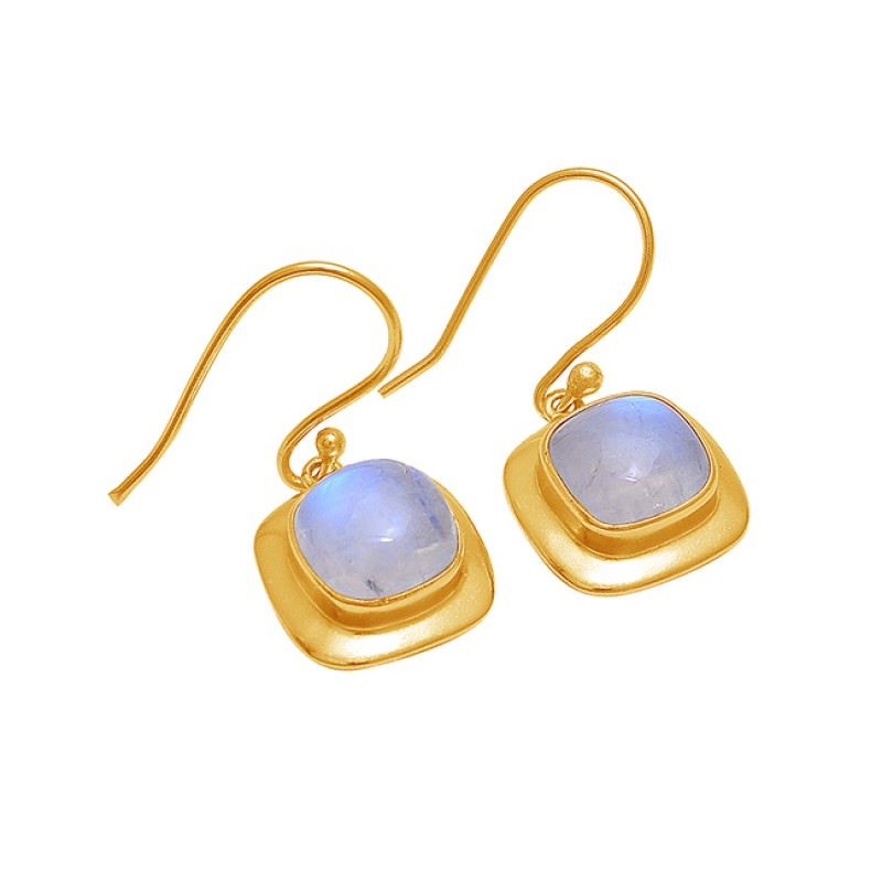 Square Shape Rainbow Moonstone 925 Silver Gold Plated Dangle Earrings