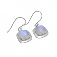 Square Shape Rainbow Moonstone 925 Silver Gold Plated Dangle Earrings